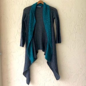 Wooden Ships waterfall cardigan gray teal S/M